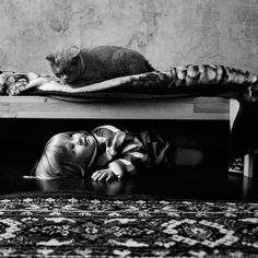 Black and White Friendship Story of a 4-Year-old Girl and Her Cat