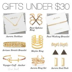I have none of these and would like any.   Stella & Dot | Gorgeous Gifts Under $30 | Shown: Pave Sphinx Ring, Aurora Necklace, Aurora Stud Pack, Pave Wishing Bracelet, Aurora Ring Set, Voyager Cuff Anchor, Maylee Ring, Arrison Stretch Bracelet