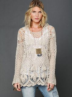 An airy, lightweight Bohemian over-blouse is a beautiful way to dress up a tank top and still stay cool. Free People crochet top.
