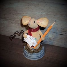 Primitive country office desk mouse doll