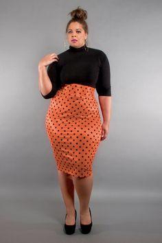 884b8cffe26 JIBRI Plus Size High Waist Pencil Skirt (Sherbet Dottie)