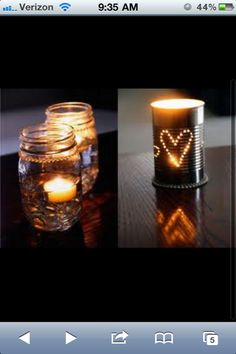 Rustic wedding decor - floating candles!