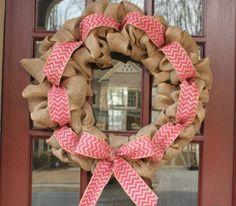 Spring burlap chevron wreath by DoorDecor4U on Etsy, $45.00