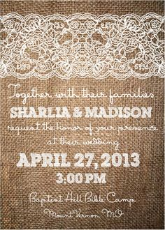 Burlap and Lace Wedding Invitation, Rustic Theme, DIY, Printable File with RSVP Card