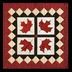 Canadian Maple Leaf (Red Leaves) Quilt from Picture Piecing Traditional Quilts by Cynthia England Small Quilt Projects, Quilting Projects, Quilting Designs, Canadian Quilts, Quilts Canada, Painted Barn Quilts, Quilt Of Valor, Leaf Crafts, Fall Quilts