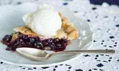 Classic two crust blueberry pie...about as simple and delicious as it gets. This filling is not too sweet with a nice layer of tartness from the lemon and perfume from the cinnamon. You can use store-bought crust, but even the non...