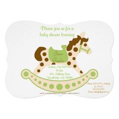 Big Green Rocking Horse Baby Shower Announcement