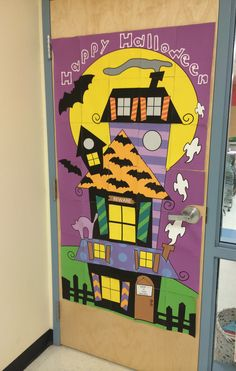 Halloween door poster already colored--time saver--just print, put togethr and hang up!