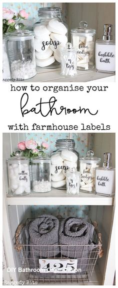 How to Organise your Bathroom with Farmhouse Bathroom Labels - DIY Badezimmer Dekor Bathroom Organisation, Diy Organization, Organized Bathroom, How To Organize A Bathroom, Organizing Ideas, Diy Bathroom Decor, Diy Home Decor, Bathroom Storage Diy, Farmhouse Decor Bathroom