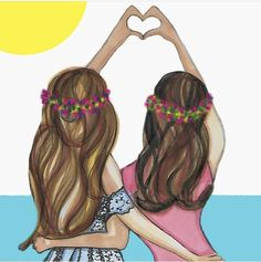 Bild in der Illustrationssammlung von Loren auf We Heart It Best Friend Drawings, Art Drawings Sketches Simple, Girly Drawings, Art Drawings For Kids, Cute Friend Pictures, Best Friend Pictures, Bff Images, Friends Sketch, Sisters Drawing