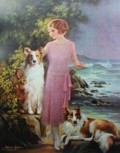Beautiful young woman with two Collies by the sea.