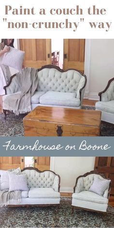 Painting Fabric Furniture, Paint Upholstery, Diy Furniture Couch, Upholstered Furniture, Furniture Projects, Chair Upholstery, Paint Furniture, Cheap Furniture, Furniture Design