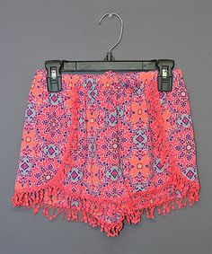 Look at this My Michelle Pink & Navy Floral Fringe Shorts - Kids & Tween on #zulily today!