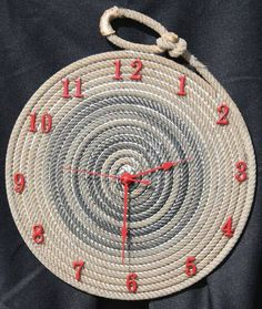 Rope Clocks made with lariat rope, western clocks by Jus Ropen Kreations Cool Clocks, Unique Wall Clocks, Clock Art, Diy Clock, Clock Ideas, Rope Crafts, Diy And Crafts, Art Corde, Deco Tv