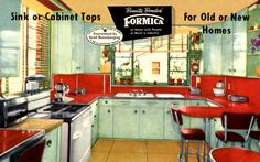 Only genuine bonded FORMICA has the newest and largest selection of clear, clean, unclouding color patterns with super smooth, blemish free cabinet maker's finish from thirty nine years continuos production experience. (PC circa 1957)