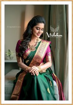 Stunning Nabha Natesh in bottle green color saree and purple color blouse. Blouse with hand embroidery work and jari boarder. Sari with gold jari boarder. Wedding Saree Blouse Designs, Half Saree Designs, Fancy Blouse Designs, Indian Bridal Sarees, Bridal Silk Saree, Indian Beauty Saree, South Indian Sarees, Indian Wedding Outfits, Indian Outfits