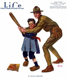 """""""An American Missionary"""" 4/18/1918 aka. """"Soldier Playing Baseball"""" by Norman Rockwell for Life Magazine, cover"""