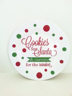 Items similar to Cookies for Santa - Christmas Decoration - Christmas Decorations - Christmas Decor - Holiday Decorations - Holiday Decor - Christmas Gift on Etsy Decoration Christmas, Christmas Plates, Great Christmas Gifts, Christmas Projects, Holiday Crafts, Christmas Holidays, Christmas Vinyl Crafts, Christmas Ideas, Christmas Stuff