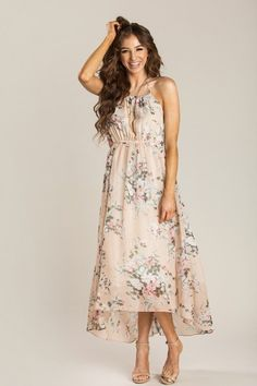 506fb9d9f1f1b Aurora Blush Floral Halter Dress. Floral Bridesmaid DressesBlush DressesFloral  Maxi ...