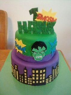 Hulk Cakes, Fondant, Birthday Cake, The Incredibles, Desserts, Food, Incredible Hulk Cakes, Green Party, Incredible Hulk