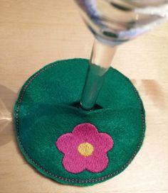 Flower Motif Wine Glass Coaster - Wine glass decoration, accessory, drink coaster, wine glass charm by GlassSlipperCompany on Etsy