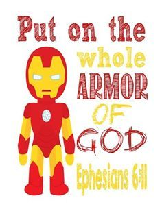 Ironman Christian Superhero Nursery Decor Art Print - Ephesians - Put on the whole Armor of God - Multiple Sizes Superhero Wall Art, Superhero Classroom, Superhero Kids, Superhero Party, Hero Central Vbs, Bible Heroes, Armor Of God, Vacation Bible School, Sunday School Lessons