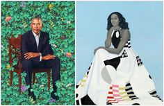 """Judging from the reaction, the official 2018 portraits of former President Barack Obama and first lady Michelle Obama were anything but bland. At left, the portrait of Mr. Obama by Kehinde Wiley, and the portrait of Mrs. Obama by Amy Sherald. Obama Portrait, Portrait Art, Portrait Paintings, Michelle Obama, Barack Obama, African American Artist, African American History, American Women, Artists"