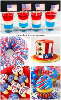 Creative Red, White, And Blue Dessert Recipes Kids Will Love! Creative Red, White, And Blue Dessert Recipes Kids Will Love! Blue Desserts, 4th Of July Desserts, Fourth Of July Food, 4th Of July Party, July 4th, Patriotic Desserts, Holiday Desserts, Patriotic Party, Patriotic Crafts
