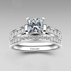 1.0 CT Brilliant Princess Cut 925 Sterling Silver Engagement / Wedding Ring Bridal Set