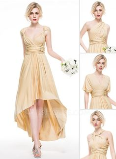 [€ 119.92] A-Line/Princess Asymmetrical Jersey Bridesmaid Dress With Ruffle (007076097)