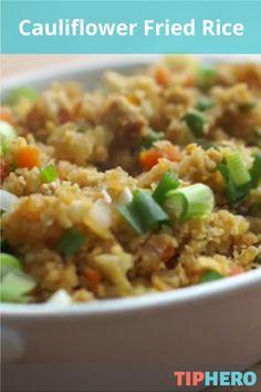 Cauliflower Fried Rice Recipe   Who knew that cauliflower could taste so good?! #recipe #sidedishes #cauliflower