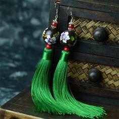 Boucles d'oreilles de style ethnique Thaïlande Pur manuel En Bois perles Rouge agate Boucles D'oreilles Longues Glands boucles d'oreilles pour les Femmes