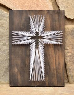 Cross String Art – Christian Wall Art – Rustic Home Decor – Religious Art – Christian Gift – Baptismal Gift – Farmhouse Decor – Easter Decor Custom Wood Cross Religious String Art Home Decor by hwstringart: String Art Diy, String Crafts, Arte Linear, Linear Art, Art Christmas Gifts, Christmas Cross, String Art Patterns, String Art Tutorials, Doily Patterns