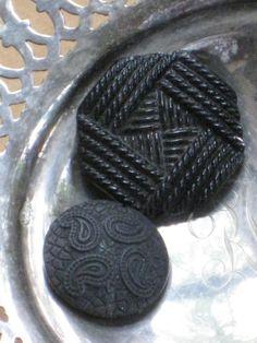 2 Large Antique Edwardian Black Glass Imitation Faux Fabric Buttons - Shanked - Vintage Supplies