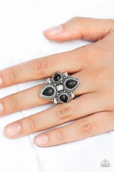 Dune Runner Black Stone Paparazzi Accessories Ring Paparazzi Accessories, Paparazzi Jewelry, Blue Pearl, Pearl White, Black Rings, Silver Rings, Silver Pearls, Black Stones, Gemstone Rings