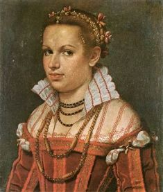 Giovanni Batista Moroni, 1550s (?): Isotta Brembati Grumelli.  **The subject is the same woman as the last pin (green dress)...she appears to be wearing the same redworked partlet & hair taping...this portrait gives a better view of their details.
