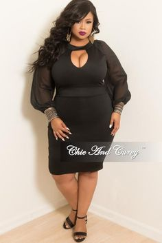 Final Sale Plus Size BodyCon Dress with Chiffon Sleeves 7a30c339c