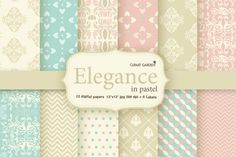 12 elegant pattern and 6 frames by CLIPART GARDEN on Creative Market