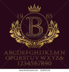Golden ornate letters and numbers with initial monogram in coat of arms form. Decorative patterned font for logo design. Isolated english vintage alphabet, figures.