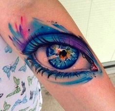 Eye watercolor tattoos, forearm tattoos for woman, tattoo designs – The Unique DIY Watercolor Tattoo which makes your home more personality. Collect all DIY Watercolor Tattoo ideas on eye tattoos, watercolor tattoos to Personalize yourselves. Blue Tattoo, Tattoo On, Piercing Tattoo, Body Art Tattoos, Eye Tattoos, Tatoos, Piercings, Galaxy Tattoos, Tattoo 2015