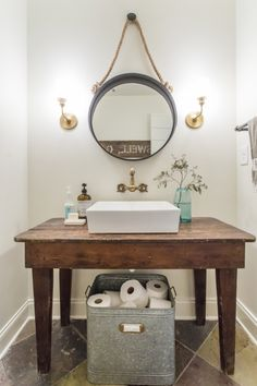 Vessel sink with a rustic wood farmhouse table - love the unpolished brass faucet eclecticallyvintage.com