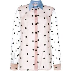 Natasha Zinko Net Polka-Dot Shirt (2.705 RON) ❤ liked on Polyvore featuring multicolour