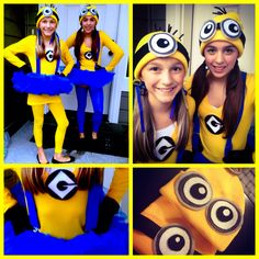minion costumes for the girls made them myself diy minions homemade minioncostume halloween despicableme