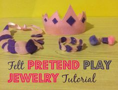 Felt Pretend Play Jewelry Tutorial #crafts #diy #felt #pretendplay #sewing #ToddlerFriendly #tutorial Easy Diy Crafts, Diy Home Crafts, Easy Diy Projects, Diy Crafts For Kids, Holiday Crafts, Sewing Projects, Make Your Own Clothes, Diy Clothes, Church Crafts