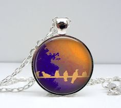 Purple Orange Birds on a Wire Necklace Glass Dome Art Picture Pendant Photo Pendant Handcrafted Jewelry by Lizabettas (1434)