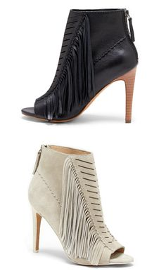 Leather fringed heels by Joe's Jeans. Cut out peep toes with scalloped and fringe details and a back zipper.