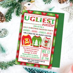 Ugly Sweater Invitations, Ugly Sweater Party, Christmas Invitations, Christmas Invites, Holiday Part Tacky Sweater, Ugly Sweater Party, Ugly Christmas Sweater, Adult Christmas Party, Holiday Parties, Holiday Party Invitations, Being Ugly, Invites, Etsy