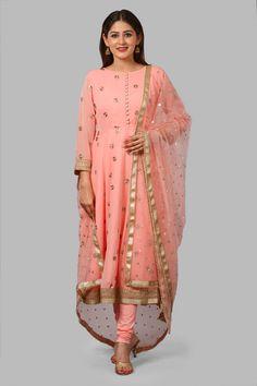 Absolut Peach Anarkali with Leggings and Net Sequenced Dupatta Lycra Leggings, Indian Designer Wear, Kurtis, Anarkali, Indian Wear, I Dress, Parrot, Beautiful Dresses, Kimono Top