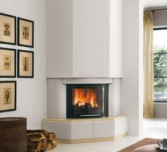 modern fire resistant corner cladding with 66 angle GRANADA Corner Fireplace Living Room, Corner Fireplace, Fireplace Design, Living Room With Fireplace, Living Room Modern, Inside A House, Fireplace Decor, Fireplace, Corner Gas Fireplace