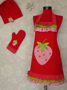 chef cap oven glove and double sided apron great gift by rengarenk, $45.00